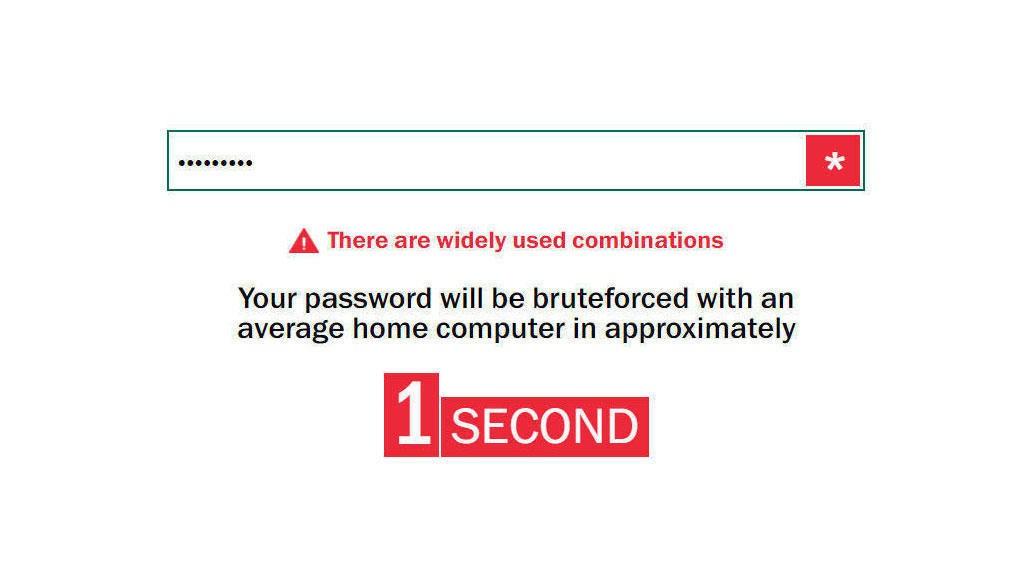 UBRUKELIG: Her har vi testet et av verdens mest vanlige passord, «123456789». Det tar ett sekund å knekke, og er med andre ord et fullstendig ubrukelig passord. Det samme gjelder passord som «qwerty» og «passord».