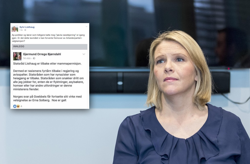 STERKE ORD: Germund Orrego Bjørndahl bruker sterke ord om statsråd og Frp-politiker Sylvi Listhaug på Facebook. - Er dette lavmålet vi kan forvente framover av Arbeiderpartiet i valgkampen? spør hun.