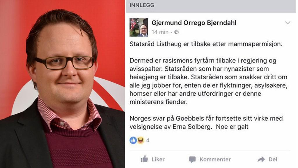 Ap-politiker i Arendal Gjermund Orrego Bjørndah har hetset innvandrings- og integreringsminister Sylvi Listhaug på Facebook flere ganger. Nå risikerer han eksklusjon fra partiet.