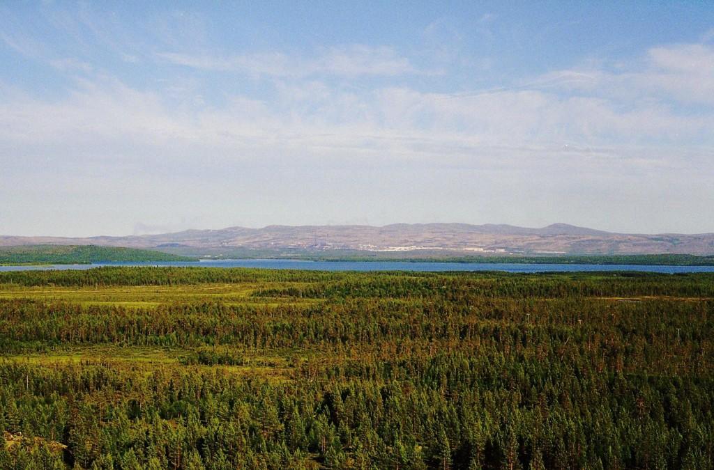 HER ER DET VARMEST: Sommeren har denne uka vartet opp med hyggelige temperaturer nord i landet. Bildet er fra Pasvikdalen med utsikt mot Nikel i Russland. Pasvik var igjen varmest i landet onsdag.