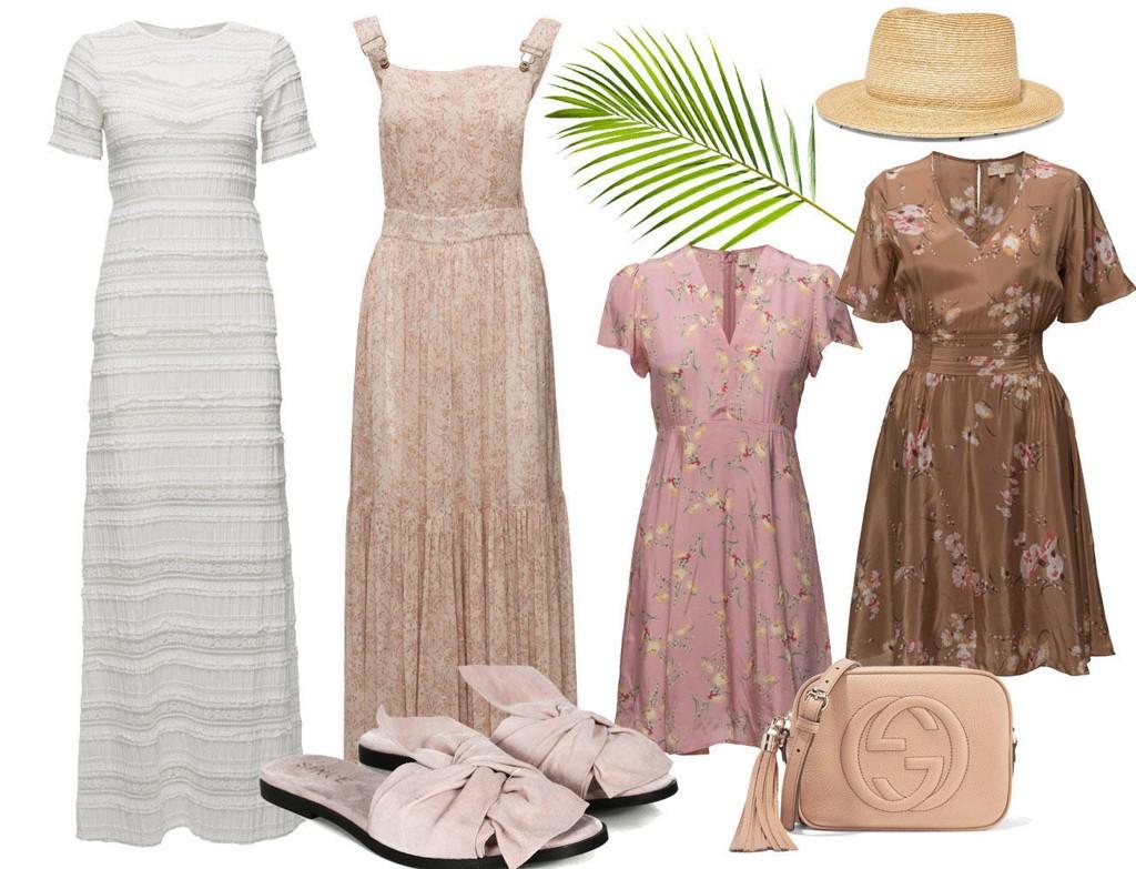 Stråhatt fra Yunotme, sandaler fra Since, veske fra Gucci. Alle kjolene er fra By Timo - se bilder og linker i artikkeltekst.