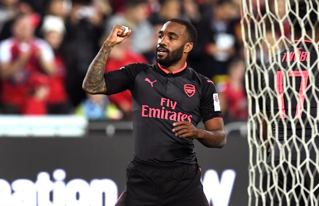 SCORET: Arsenals nysignering Alexandre Lacazette.