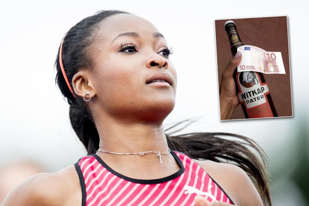 PREMIE: Ezinne Okparaebo måtte nøye seg med denne premien på en stevne i Belgia.