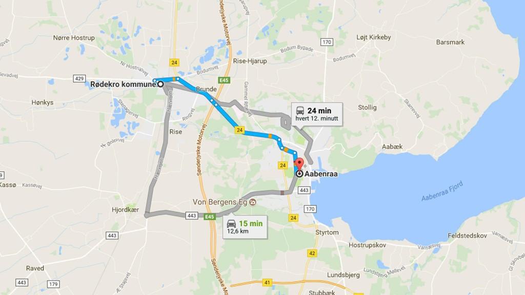RANET skjedde på en rasteplass på denne strekningen mellom Rødekro og Aabenraa.
