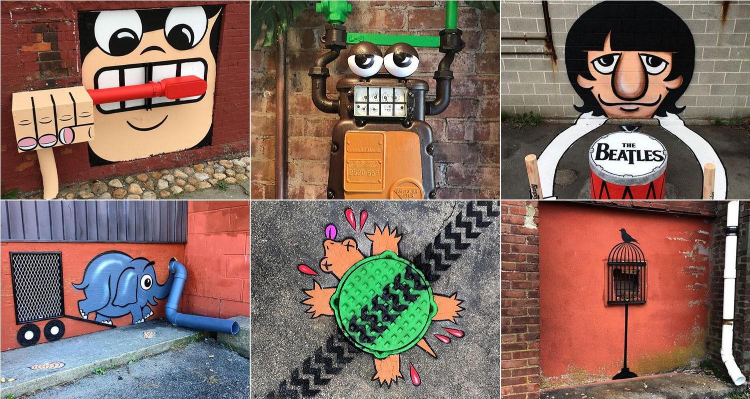 Tom Bobs gatekunst får mange til å smile.