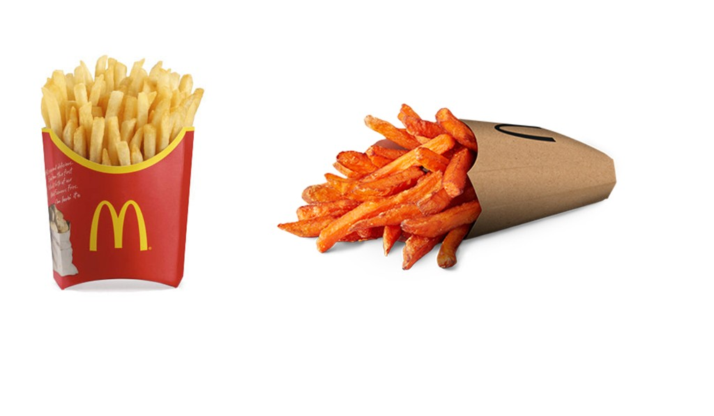 POMMESDUELLEN: vanlig fries vs. søtpotetfries.