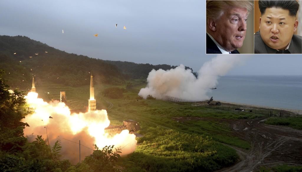 ORDKRIG OG MAKTOPPVISNING: Bilde fra en felles militærøvelse mellom Sør-Korea og USA. Eskalerer den intense ordkrigen mellom president Donald Trump og Kim Jong-un (innfelt), kan det få vidtrekkende konsekvenser for verdensøkonomien.