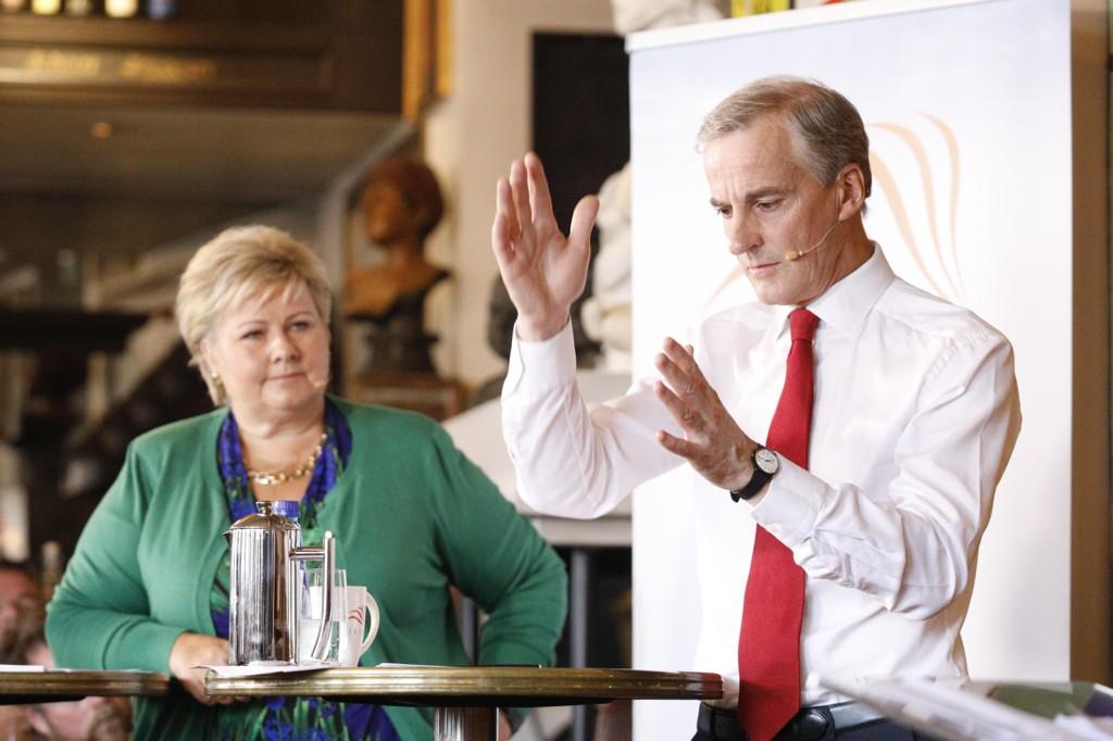 DUELL: Erna Solberg (H) og Jonas Gahr Støre (Ap) har begge et mål om å være statsminister etter valget.