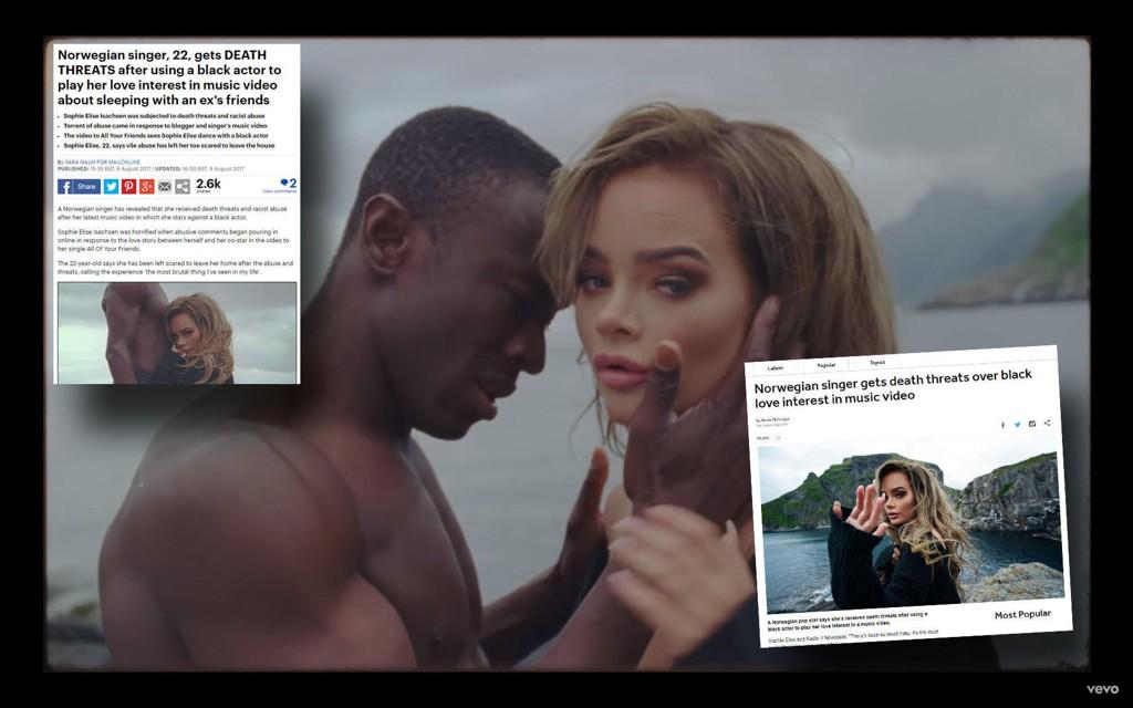 BBC og Daily Mail har plukket opp saken om hetsen mot Sophie Elise og den mørkhudede skuespilleren i musikkvideoen hennes.