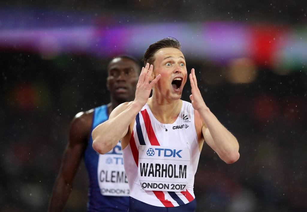 GULL: Karsten Warholm sikret norsk gull på 400 meter hekk onsdag.