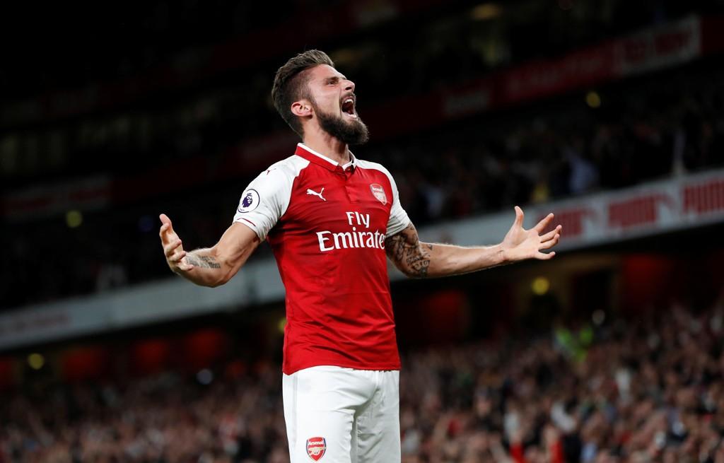 MATCHVINNER: Olivier Giroud sikret Arsenal seieren mot Leicester.