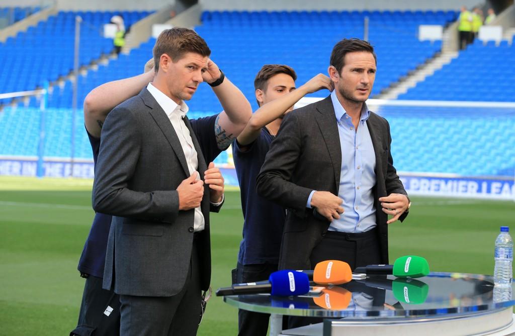 REAGERER: Steven Gerrard og Frank Lampard i forbindelse med BT Sports sending fra kampen mellom Manchester City og Brighton.