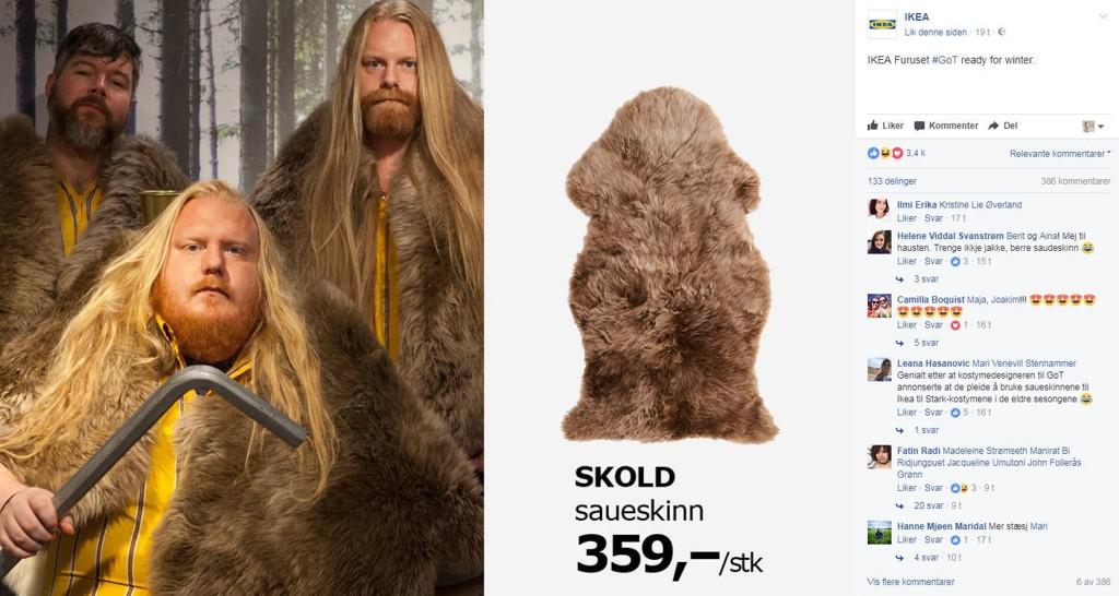 Etter at det ble kjent at Game of Thrones bruker tepper fra IKEA for å lage kapper til skuespillerne i den populære HBO-serien, har IKEA sett sitt snitt til å spille videre på hypen.