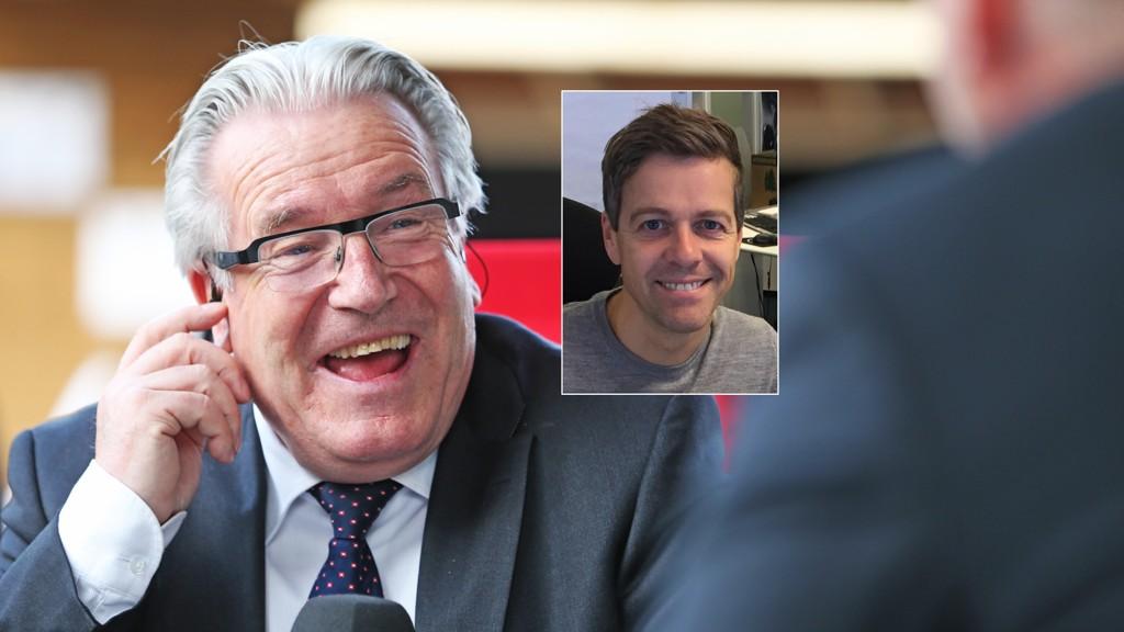 VIKTIG VALG: Davy Wathne får innspill fra KrF-leder Knut Arild Hareide (innfelt) om søndagsåpne butikker.