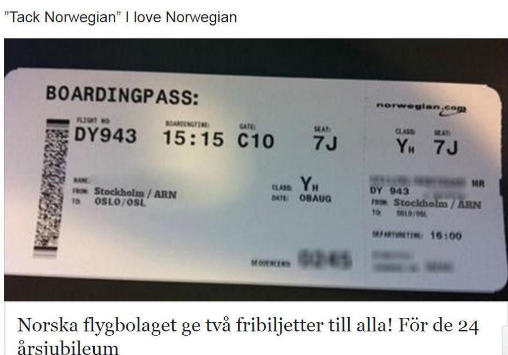 FALSK REKLAME: Slik er den falske Facebook-posten som Norwegian advarer mot.