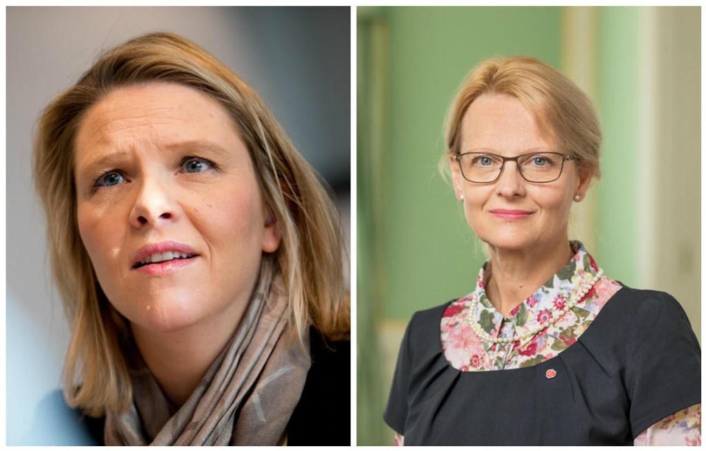 Слева: норвежский министр миграции Сильви Листхеуг ( Sylvi Listhaug, Партия прогресса). Справа: шведский министр миграции Хелене Фридзон (Heléne Fritzon, Социал-демократическая партия).
