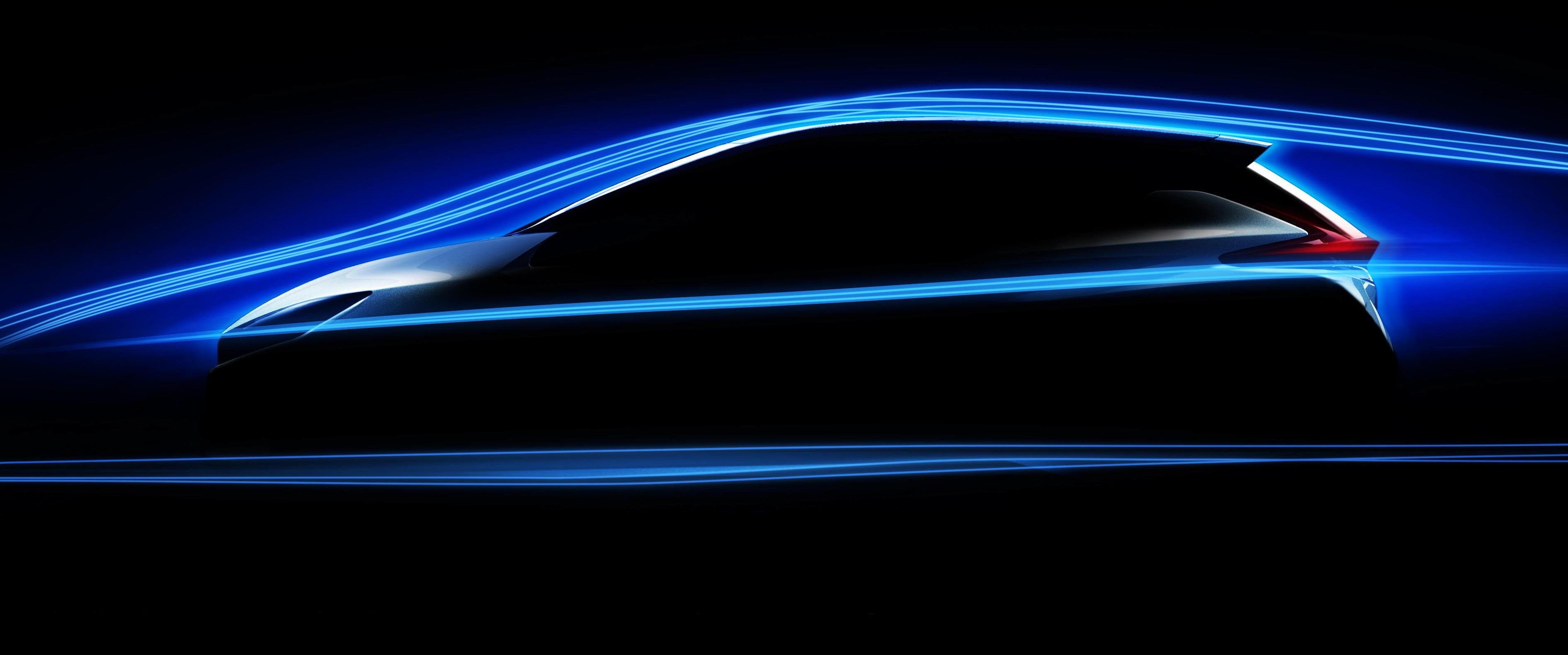 NYE NISSAN LEAF: Dette er det eneste offisielle «bildet» vi har av designet til Nissan Leaf 2018-modell. Det er ikke mye det avslører, men det later til at Nissan legger opp til en mer sportslig profil.