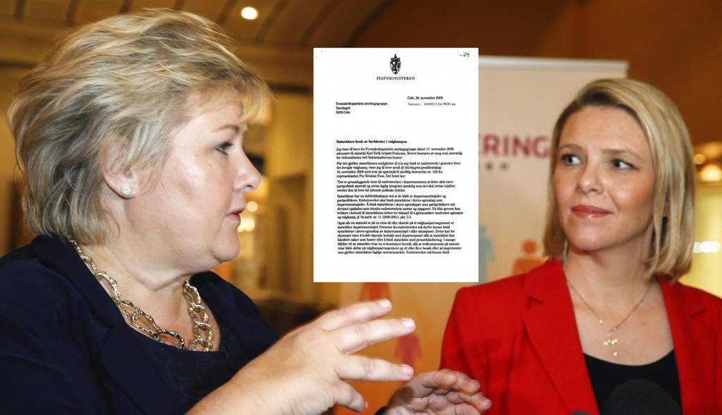 Snorre Valen (V) ba statsminister Erna Solberg (H) om å redegjøre om hvorvidt Sylvi Listhaugs (Frp) reise til Sverige var innenfor regelverket som gjelder for bruk av embetsverket. Solberg svarte med å henvise til et åtte år gammelt brev forfattet av daværende statsminister Jens Stoltenberg.