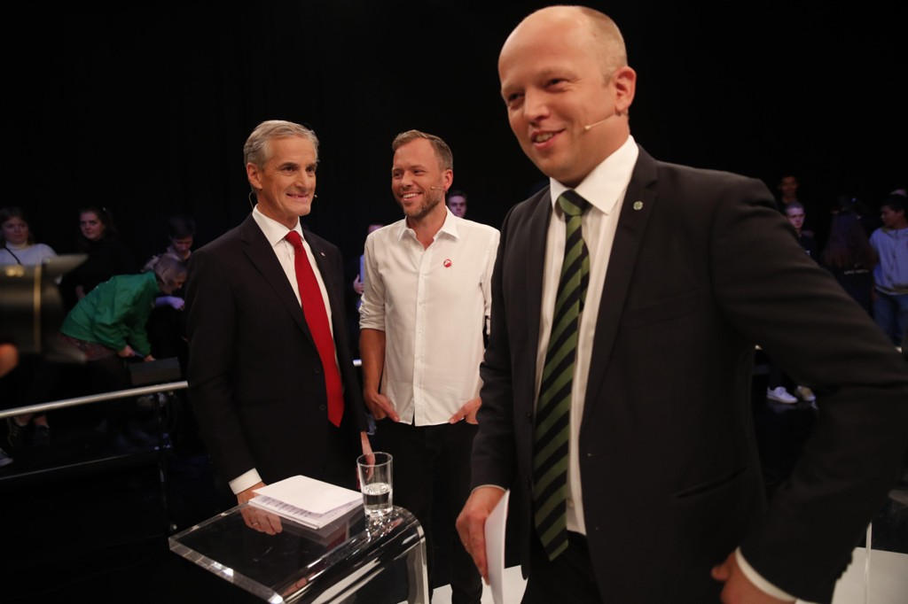 NY MÅLING: Jonas Gahr Støre (AP), Audun Lysbakken (SV) og Trygve Slagsvold Vedum (SP) får flertall i VGs nye måling - med støtte fra Rødt.
