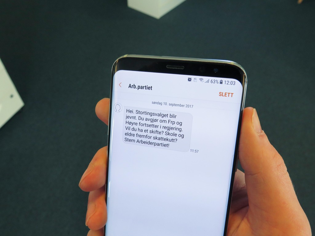Так выглядит СМС сообщение, которое получили 500 000 норвежцев от Рабочей партии в воскресенье.