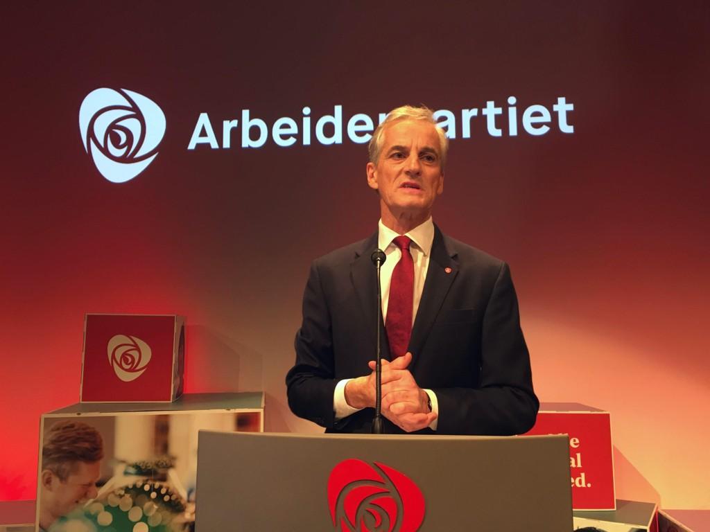 Jonas Gahr Støre under valgvaken til Arbeiderpartiet.