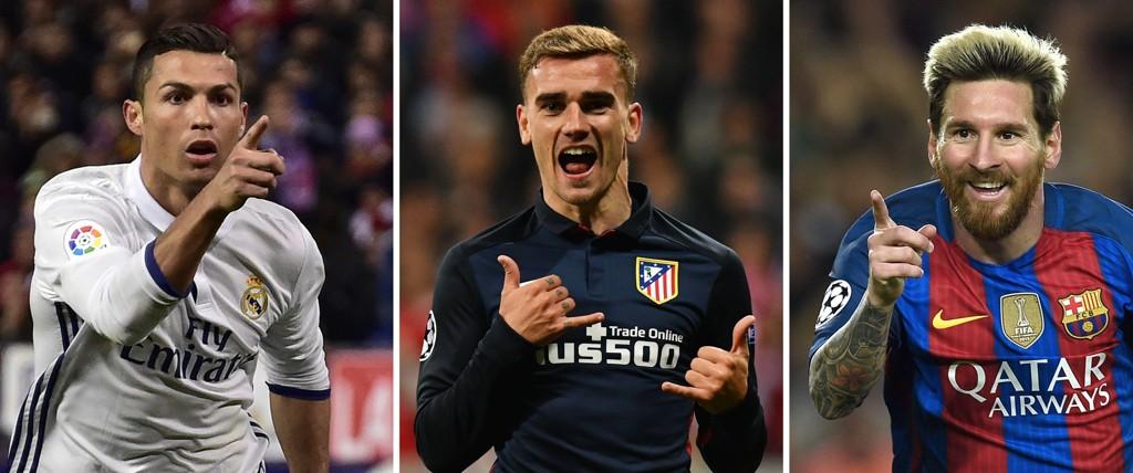 KAN VINNE: Både Real Madrids Cristiano Ronaldo, Atletico Madrids Antoine Griezmann og Barcelonas Lionel Messi er kapable til å føre laget sitt til finale.