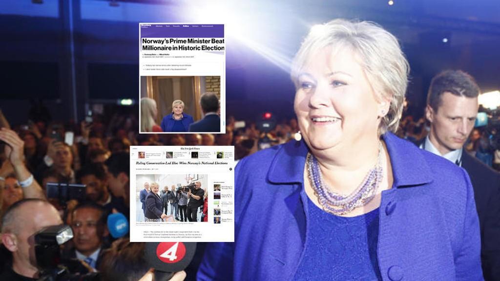 FORTSETTER: Erna Solberg fortsetter som statsminister i Norge.