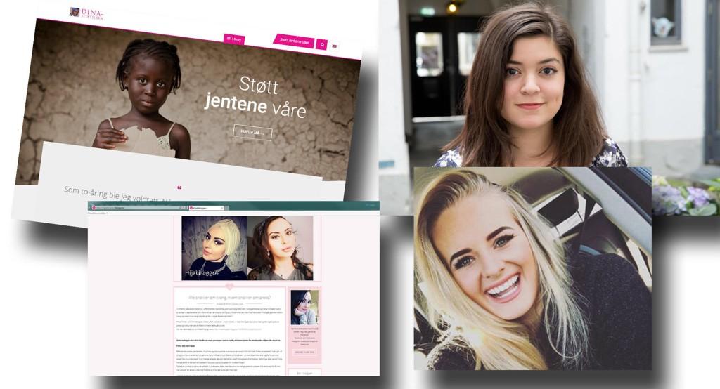 Dina-stiftelsen (øverst, fra venstre), De skamløse jentene (her, Nancy Herz), Laial Janet Ayoub og Side2-blogger Martine Halvorsen er alle nominert til Jenteprisen.
