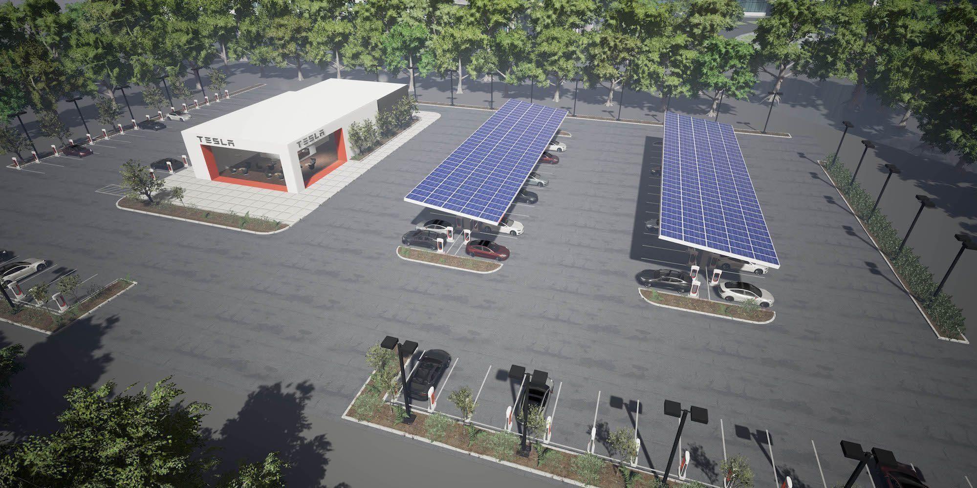 SUPERRASTEPLASS: Med 40 superladere, egen lounge til sjåførene og spesialplasser til matvogn, vil Teslas nye stasjoner antagelig bli populære rasteplasser.