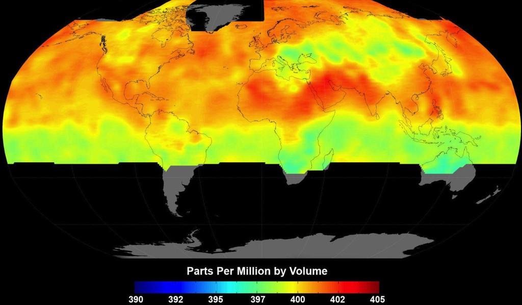 NASAs oversikt over CO2-konsentrasjoner på jordkloden. Ny forskning tyder på at verden tåler langt mer CO2 enn man tidligere har trodd.