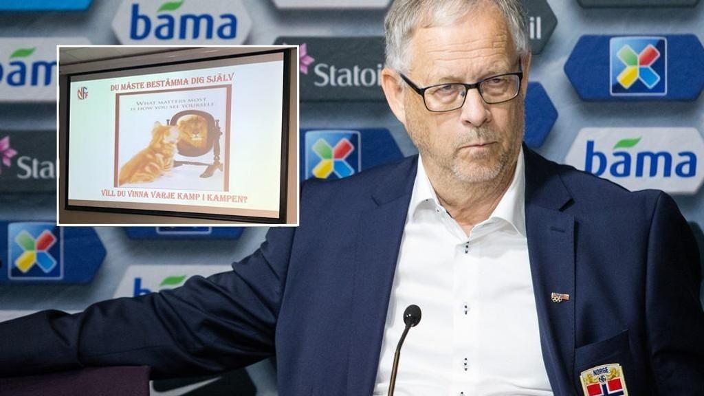 VÆR SOM EN LØVE: Norges trener Lars Lagerbäck viste pressen litt av måten han jobbet på for å snu negativiteten etter Tyskland-kampen. Etter den skuffende kampen reiste Norge seg og vant de to siste i kvaliken.