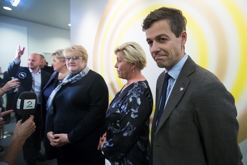 SA NEI: Her sier KrF-leder Knut Arild Hareide nei til videre samtaler om regjeringssamarbeid med statsminister Erna Solberg,), Venstre-leder Trine Skei Grande og Frp-leder Siv Jensen.