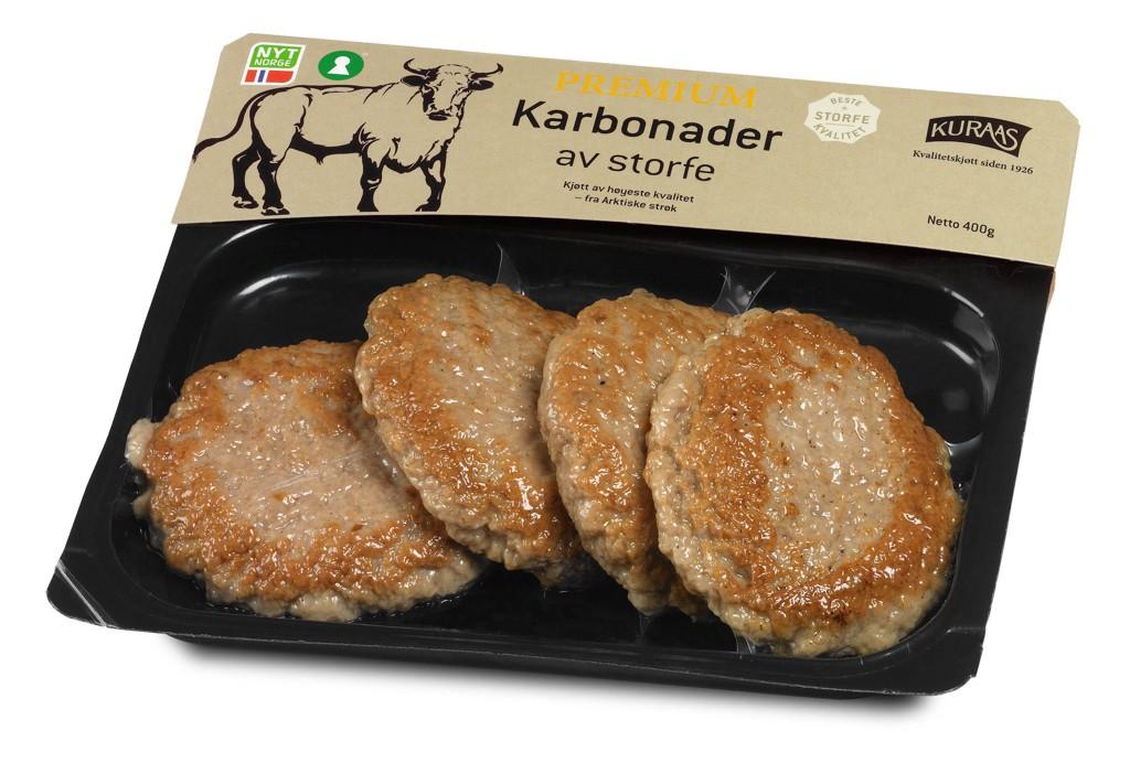 Kuraas AS tilbakekaller Premium Karbonader grunnet funn av glass eller et plastlegeme i en pakke.