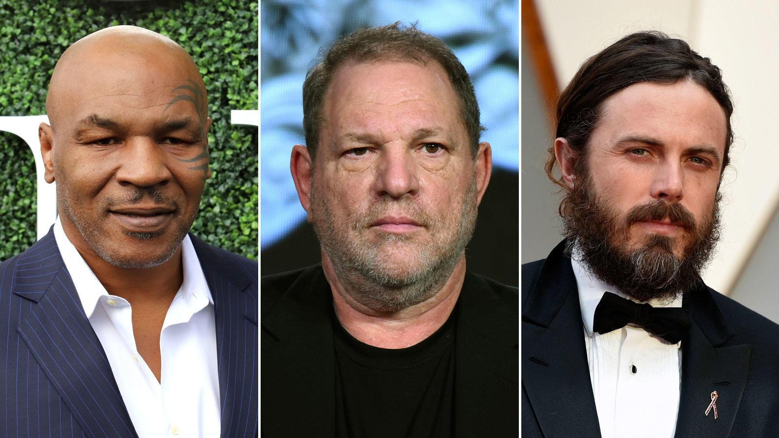 SUPERSTJERNER som Mike Tyson (til venstre), Harvey Weinstein (i midten) og Casey Affleck (til høyre) har alle blitt anklaget trakassering av kvinner.