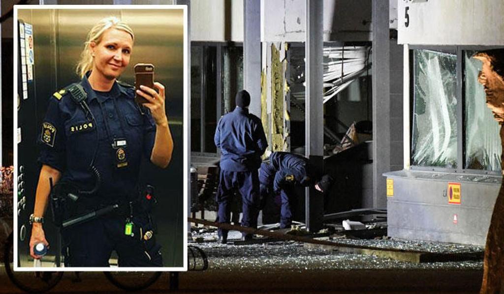 HVERDAG: Den svenske politibetjenten Åsa Wulff beskriver en jobbhverdag fylt med trusler og angrep. På bildet undersøkes ødeleggelsene på inngangspartiet på politihuset i Helsingborgnatt til 17. oktober.