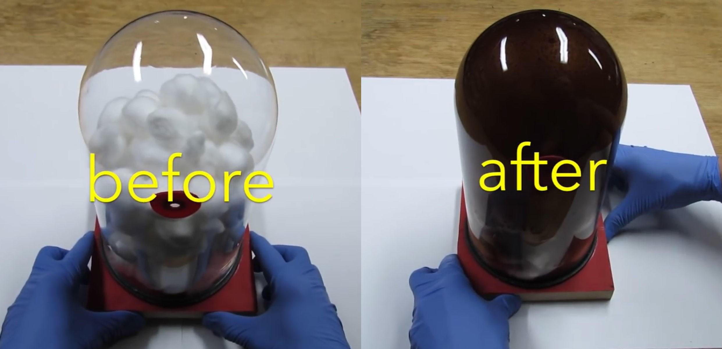Dette er hva inhalering av 600 sigaretter gjør i en glasskuppel fylt med bomull. Tjæren som blir igjen er ikke et pent syn.