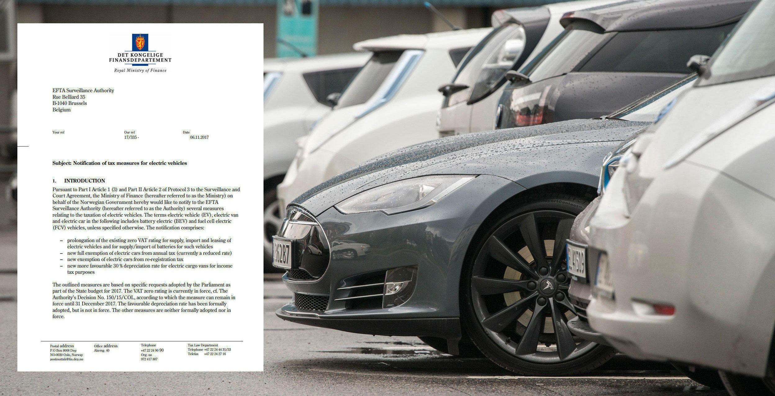KAN FÅ STORE FØLGER: Regjeringen har nå sendt notifikasjon av skatte- og avgiftsfordeler for elbiler til ESA. Her ber de om forlengelse av det eksisterende fritaket for merverdiavgift på elbiler, økte avskrivingssatser for el-varebiler, samt nye fritak for elbiler i omregistreringsavgiften og trafikkforsikringsavgiften. Svarer ESA nei, vil det få store følger for prisene på elbiler i Norge.