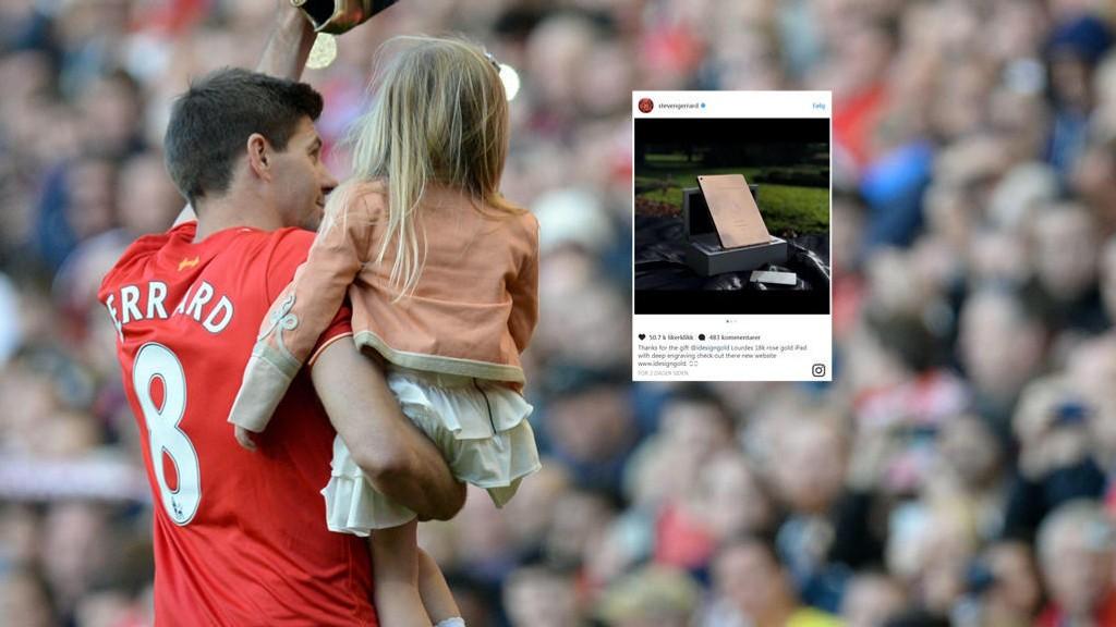 FINT SKAL DET VÆRE: Steven Gerrard med datteren Lourdes på skulderen etter en kamp. Nå har han kjøpt en noe uvanlig gave til seksåringen.