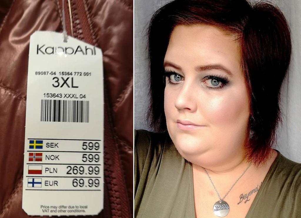 KAPPAH: Linda reagerte da hun fant en vinrød jakke i Kappahl som kostet hundre kroner mer i størrelse 3XL enn i størrelse medium. Klesskjeden sier det handler om produksjonskostnader.