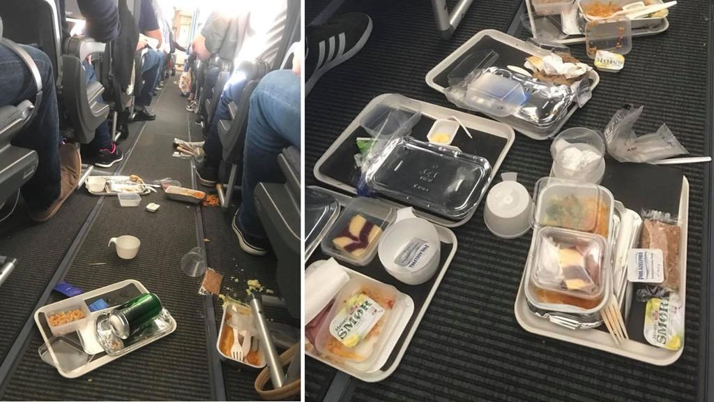Slik så det ut inni SAS-flyet etter kraftig turbulens på en flyvning fra Kristiansand tilLas Palmas de Gran Canaria søndag morgen.
