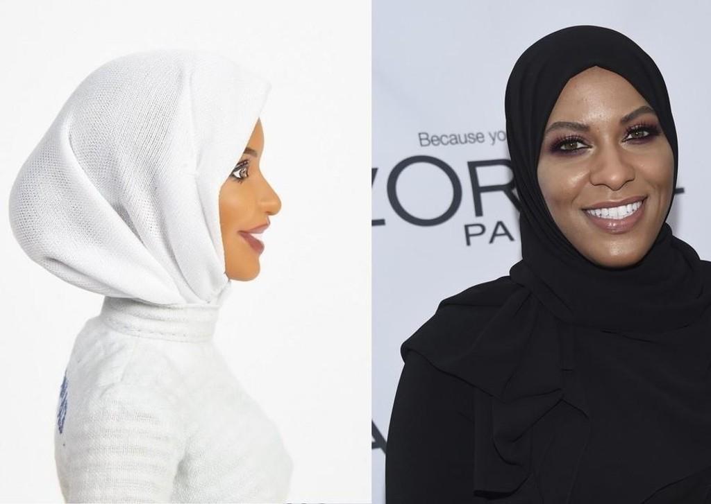 Til venstre ser vi Mattels nye Barbie dukke i hijab. Den nye dukken er modellert etter den kvinnelige amerikanske fekteren Ibtihaj Muhammad (til høyre).
