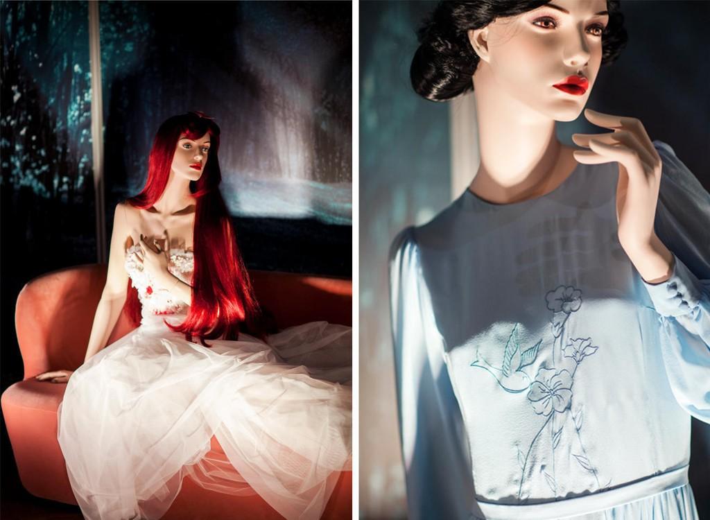 Fire av Disney-prinsessekjolene ble vist for pressen på Steen & Strøm denne uken. Resten av utstillingen blir tilgjengelig i helgen.