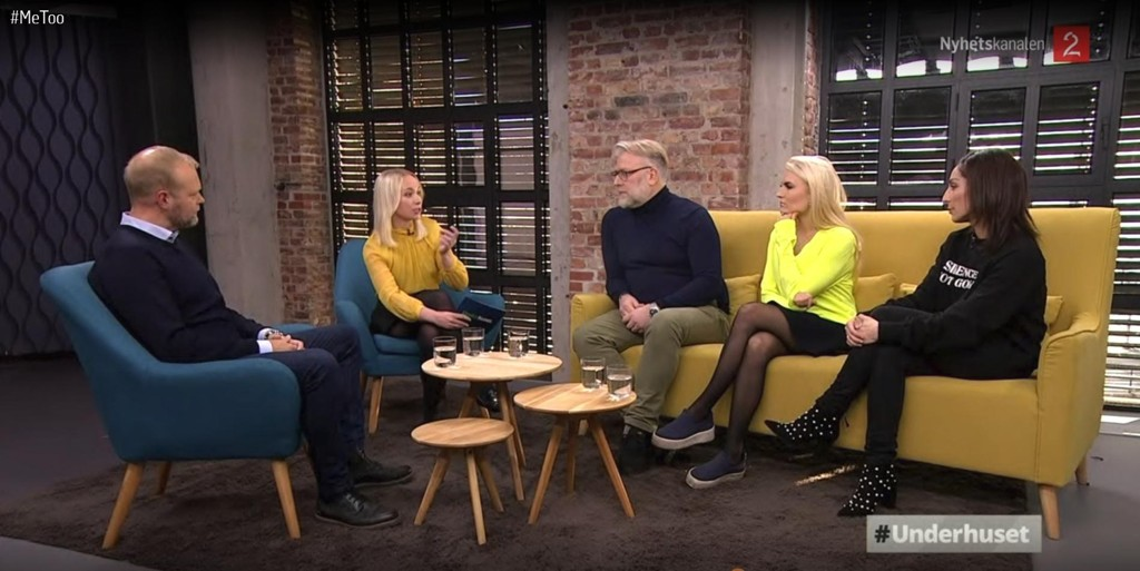 DEBATT: (F.v.) Sportsredaktør i TV 2, Vegard Jansen Hagen (t.v.) var gjest i aktualitetsprogrammet «Underhuset» på TV 2 fredag kveld. De øvrige i studioet var: Linn Wiik (programleder, nr. 2 f.v.), Tore Holte Follestad, Isabelle Ringnes og Lisa Tønne (t.h.)