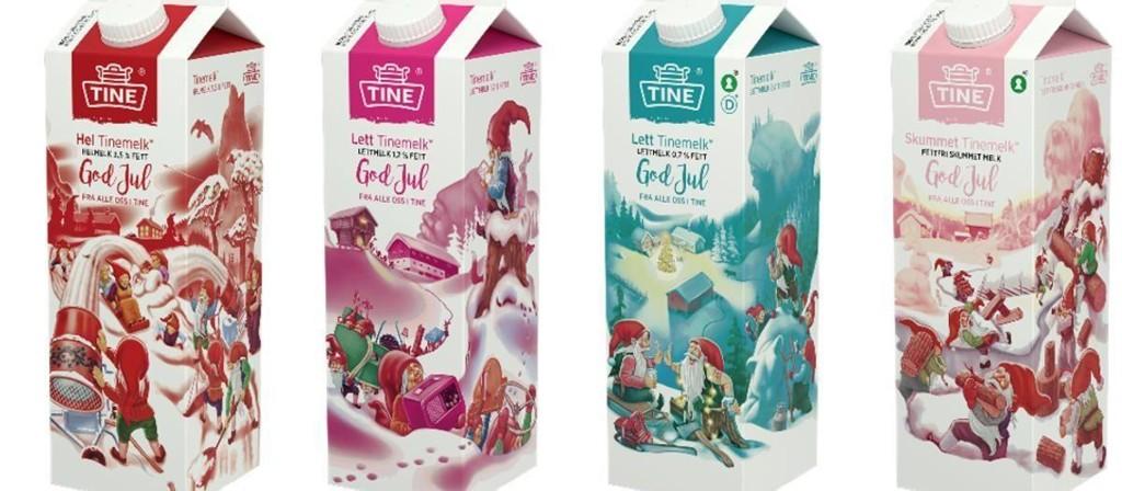 MELKEKARTONGER: Tradisjonene tro har Tine laget melkekartonger med jule-motiv. Men H-melka er ikke tatt like godt imot av alle.