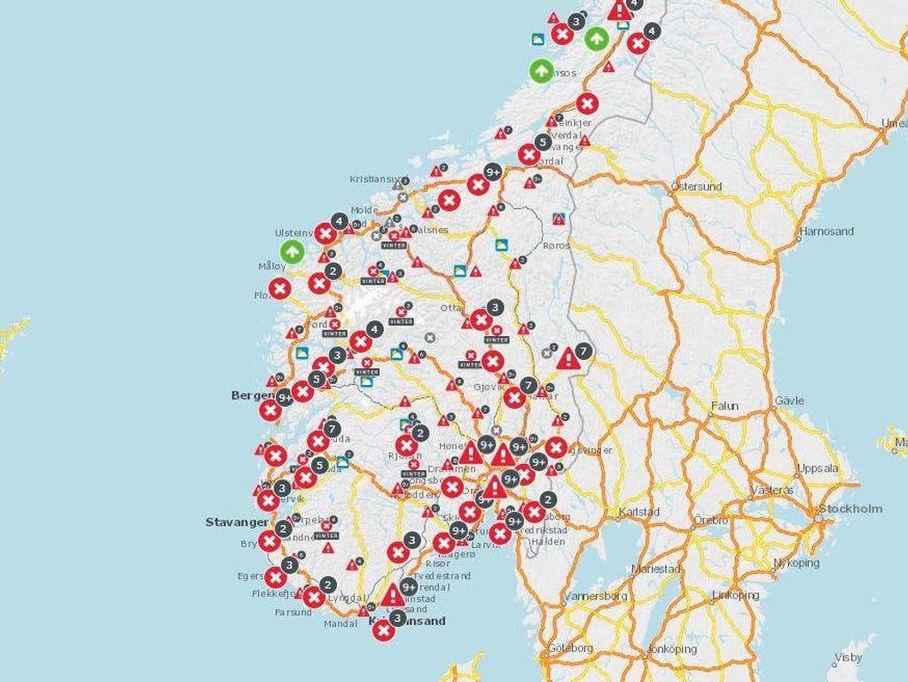 trafikk kart TRAFIKK , STATENS VEGVESEN   Trafikken: På disse veiene er det  trafikk kart