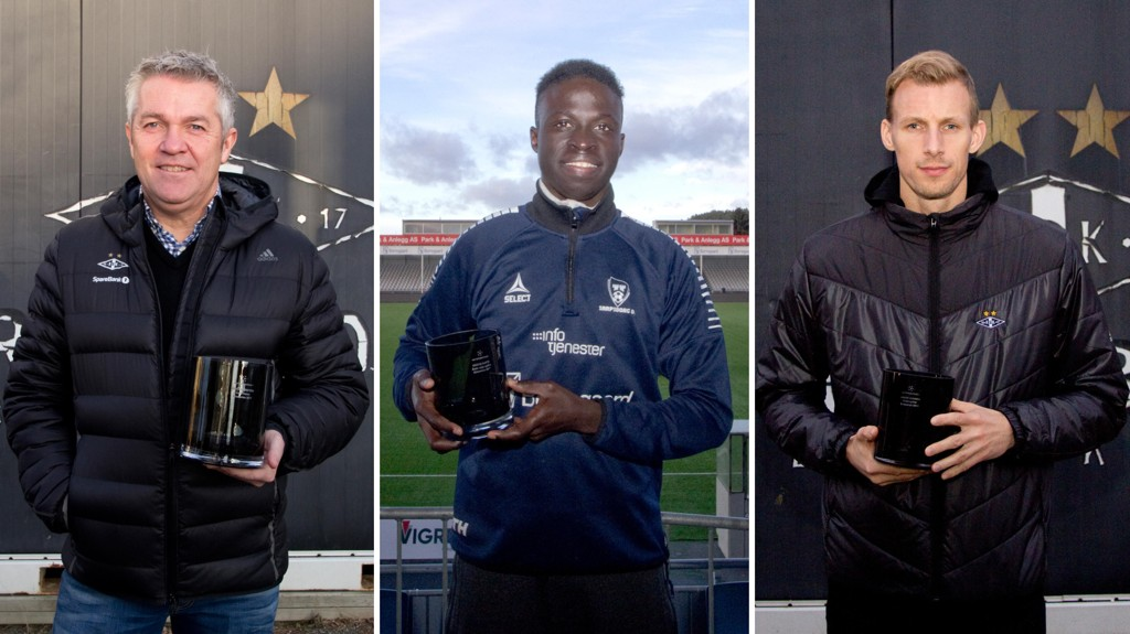 VINNERE AV NETTAVISEN-PRISEN: Rosenborgs Kåre Ingebrigtsen (t.v), André Hansen (t.h) og Sarpsborg 08s Krépin Diatta stikker av med de tre prisene denne sesongen.