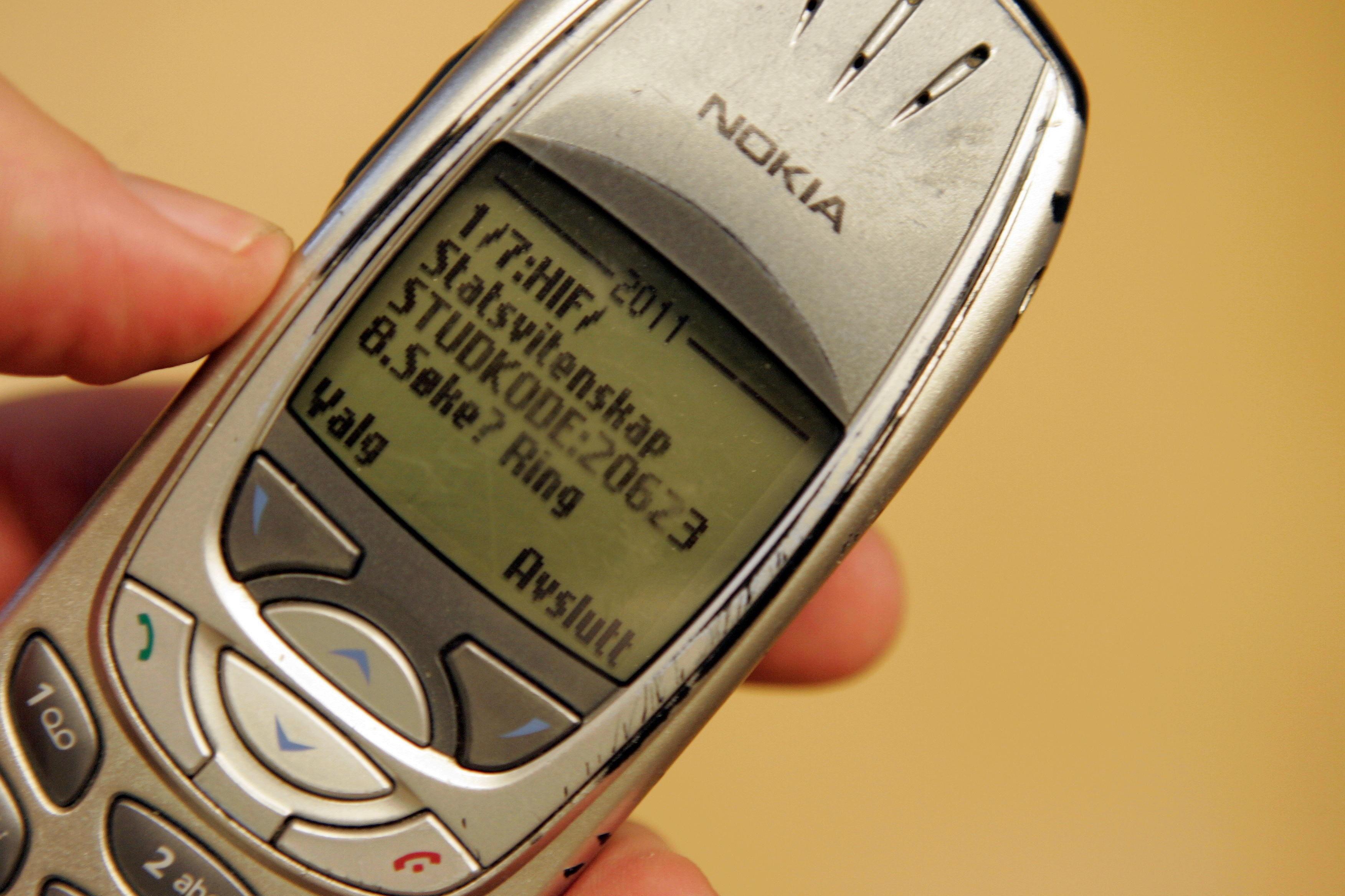 Eksempel på en tekstmelding i form av SMS i 2004.