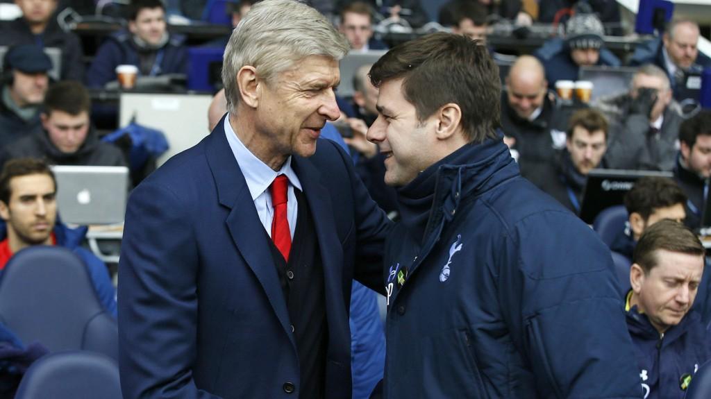 GODE RIVALER: Arsenal-manager Arséne Wenger og Tottenham-manager Mauricio Pochettino. Nå skal de kjempe om samme spiller, skal vi tro ryktene.