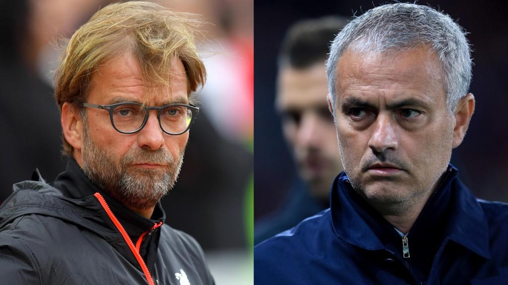 VIDERE: Liverpool-manager Jurgen Klopp og Manchester United-manager Jose Mourinho.