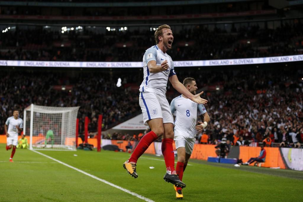 WEMBLEY: Wembley stadion ble tildelt EM-sluttspillkampene som torsdag ble fratatt Brussel. Her jubler Englands Harry Kane for scoring i en landskamp på Londons storstue.